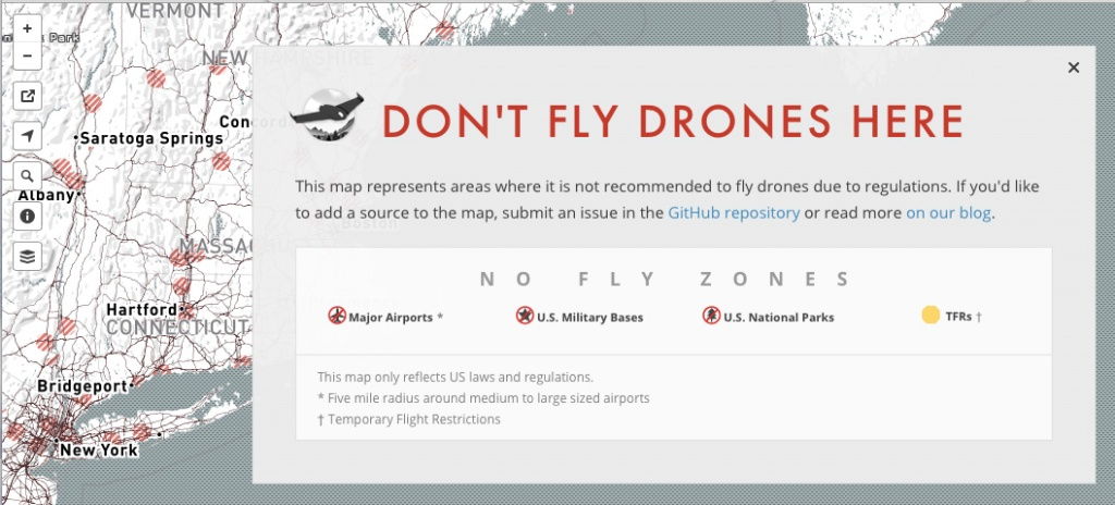 DONT FLY DRONES MAP on KIKE CALVO DRONE BLOG