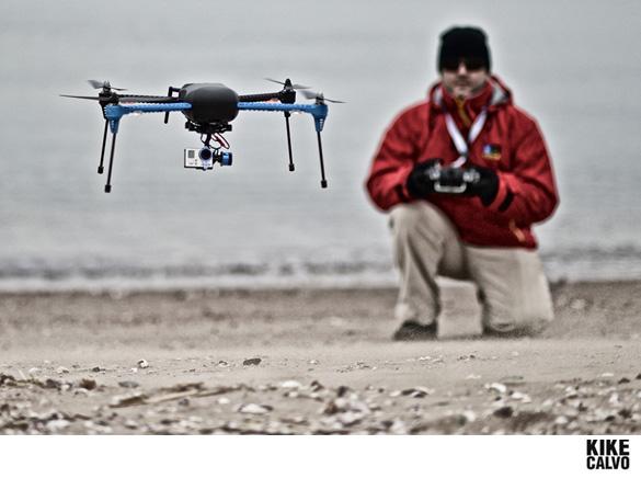 Photographer Kike Calvo flying an Iris+