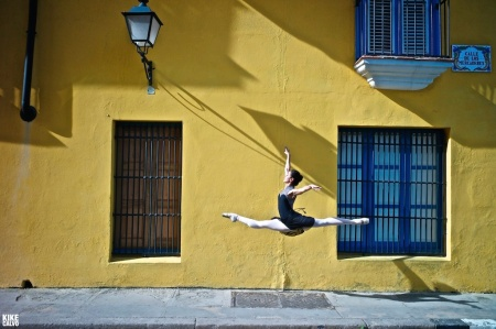 Model released photograph of a professional classic ballerina from the Cuba National Ballet in the colonial streets of old Havana