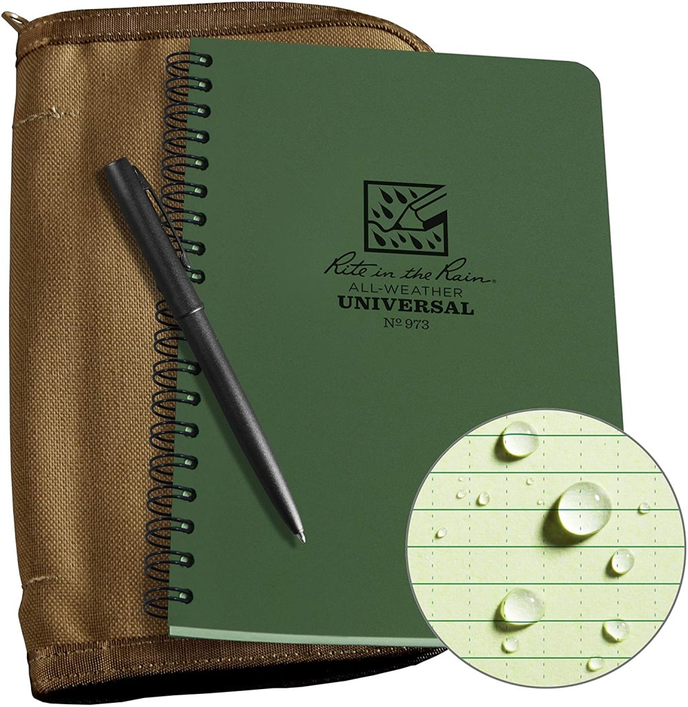 Weatherproof Side Spiral Kit: Green Notebook, and Weatherproof Pen
